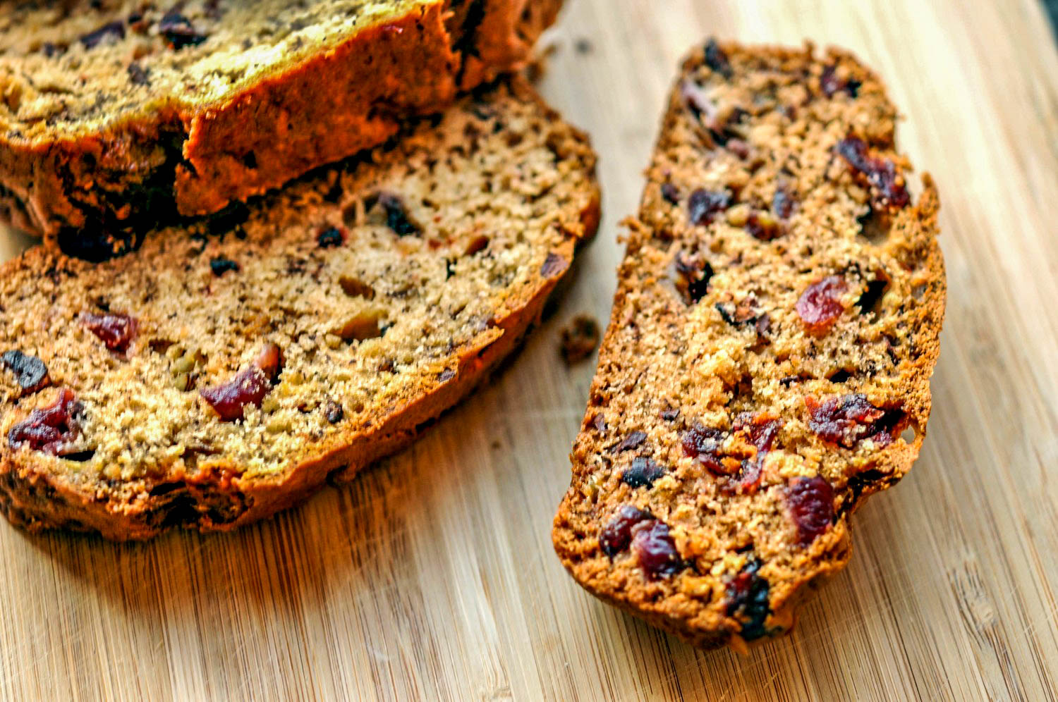 Banana Bread with Cacao Nibs & Dried Cranberries - a healthy, delicious snack or dessert recipe.