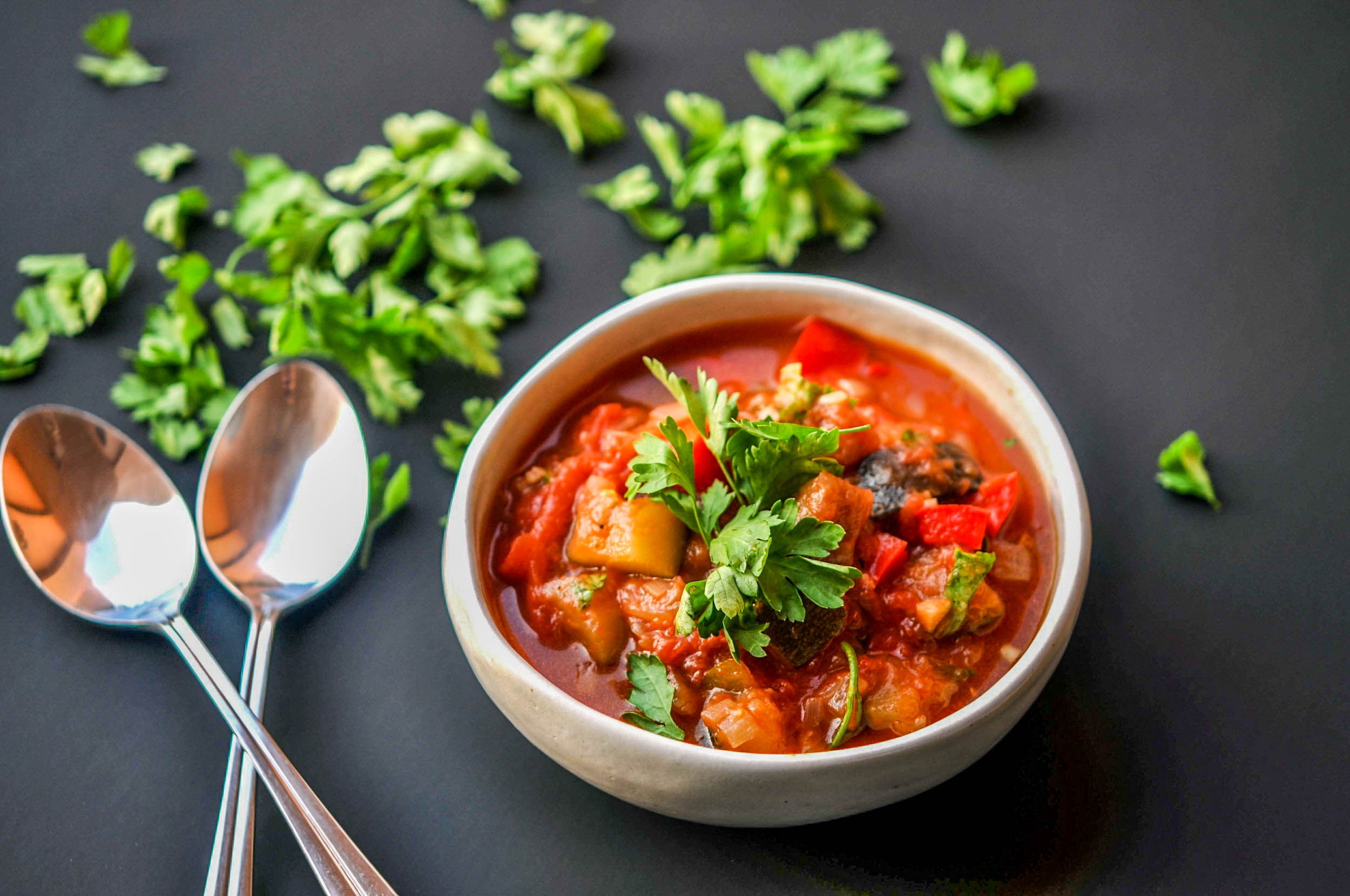 Slow Cooker Vegan Vegetable Stew with Eggplant, Bell Pepper, Zucchini, & Onion. A healthy, hearty, and incredibly easy recipe to make.