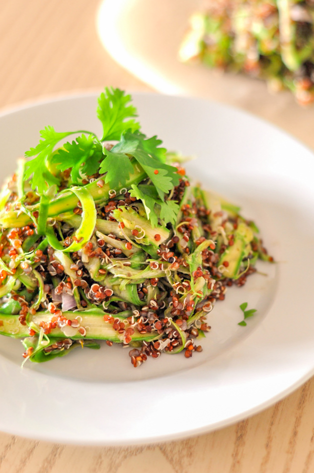 Shaved Asparagus & Quinoa Salad with a Zesty Dressing. A vegan recipe great for a lunch or as a side salad with dinner
