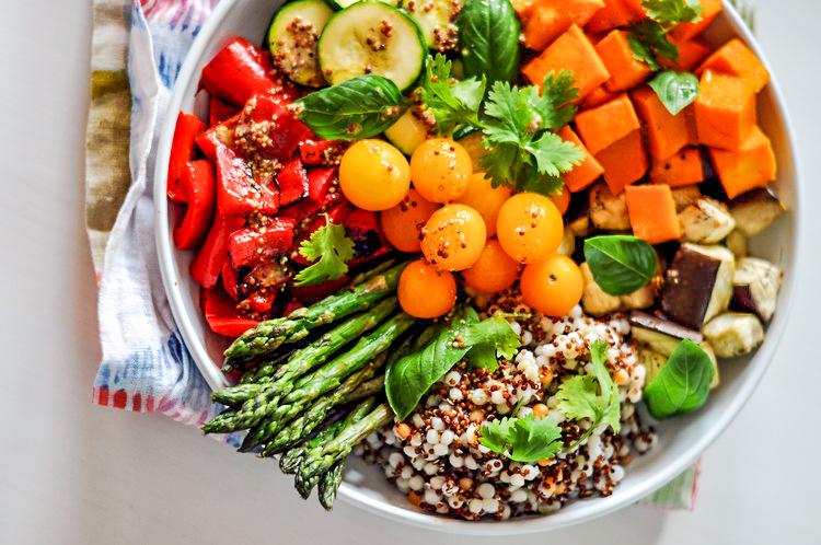 Vegan Buddha Bowl with Eggplant, Zucchini, Butternut Squash, Asparagus, & Mustard Dressing