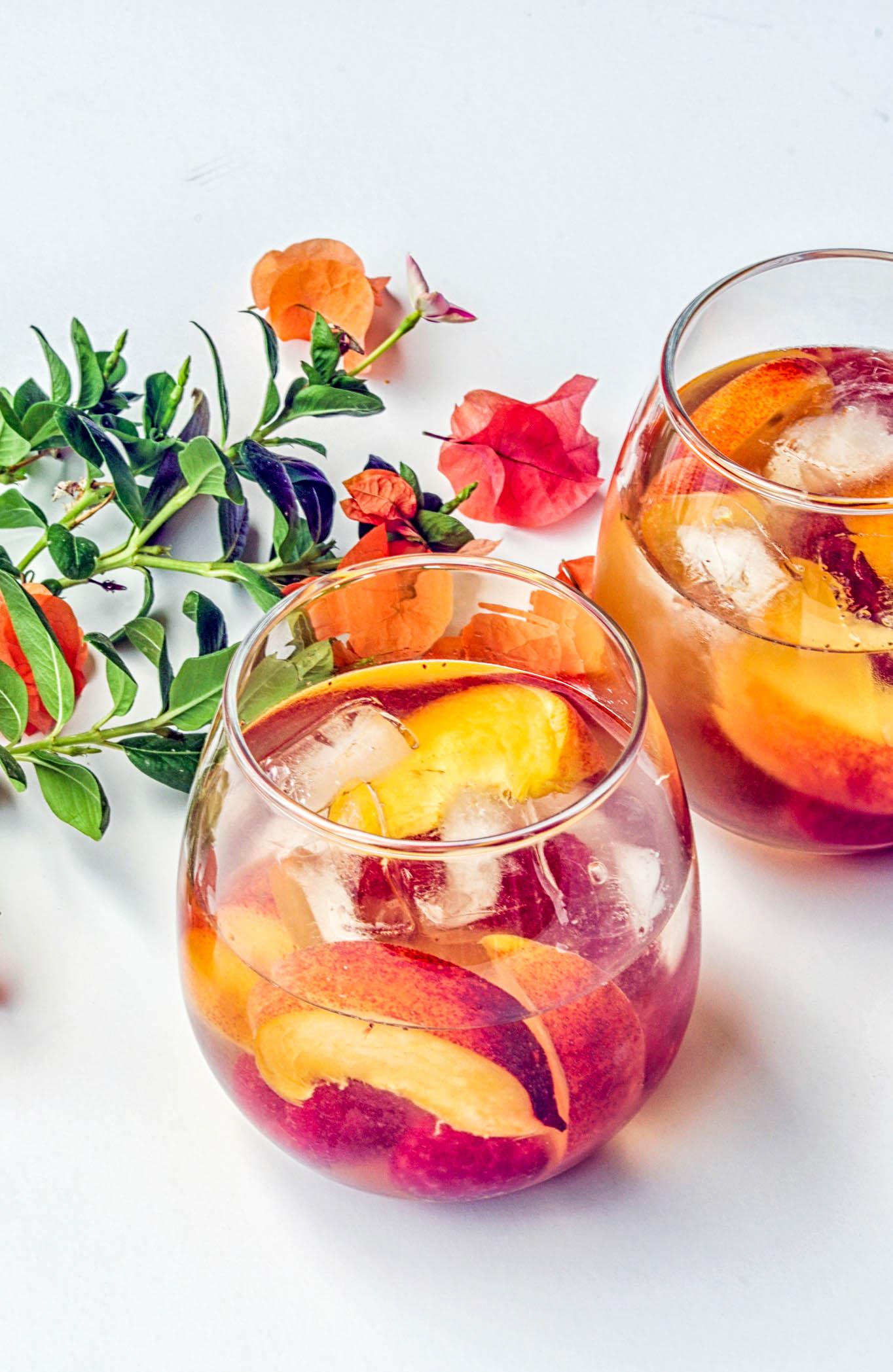 Peach & Raspberry Sangria - made with Sauvignon Blanc - a delicious, summery drink recipe.