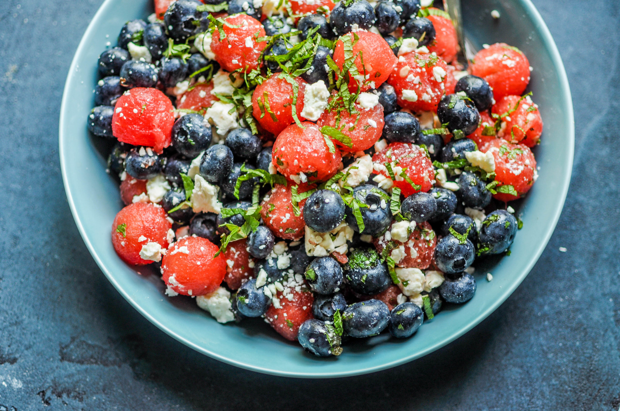 This watermelon, blueberry, and feta salad is a delightful celebration of summer fruit!