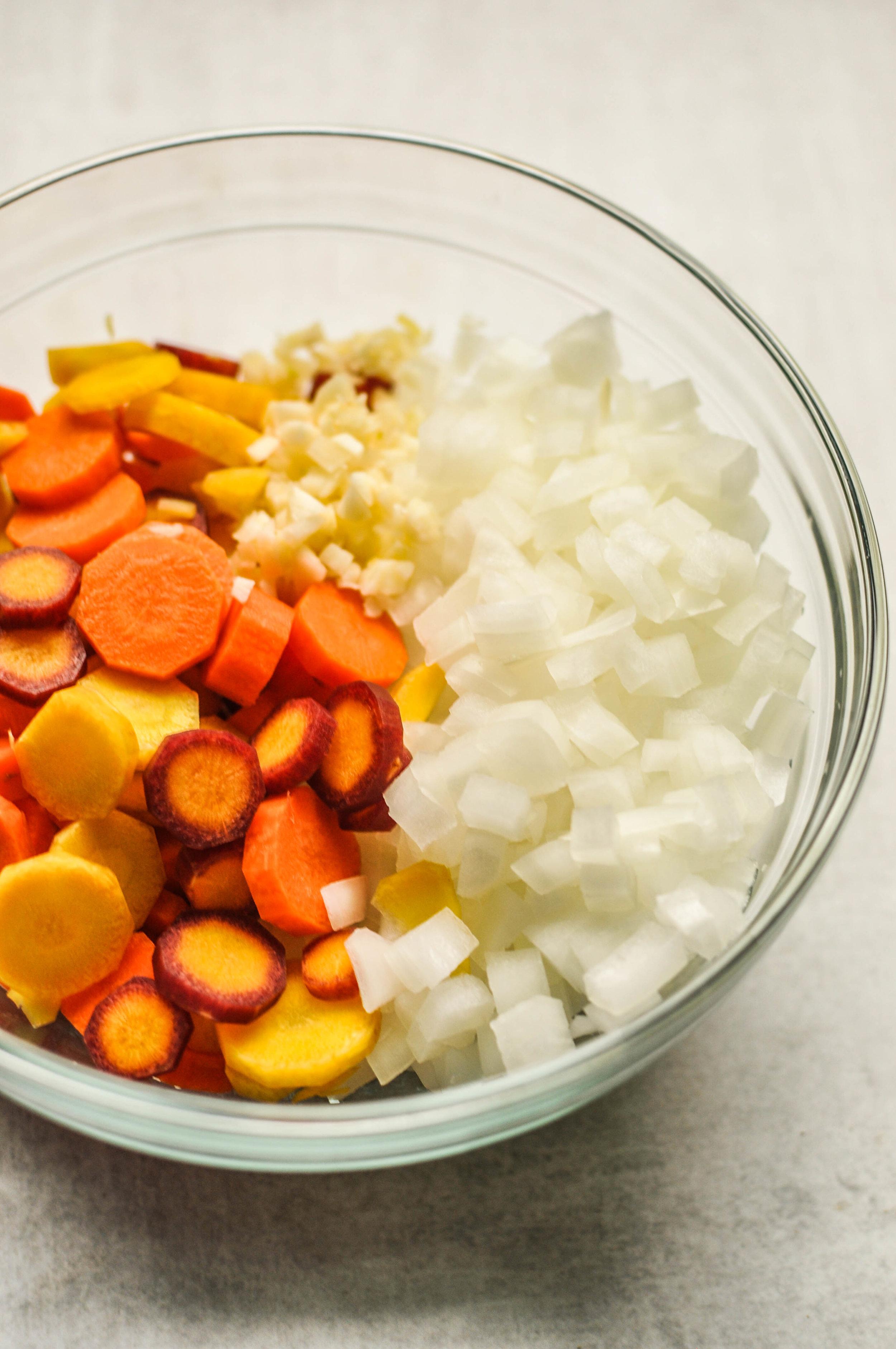 Ribollita Ingredients - carrots, onions, garlic