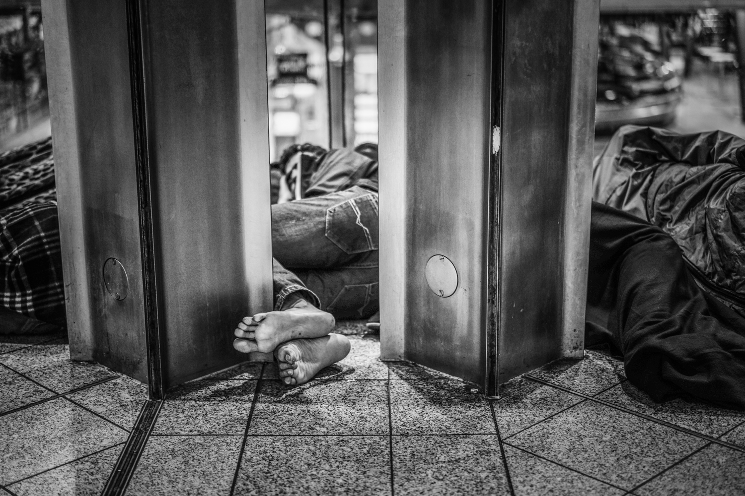 in Munich some sleep in the waiting areas. Exhausted, dirty, and hungry , they can finally rest.