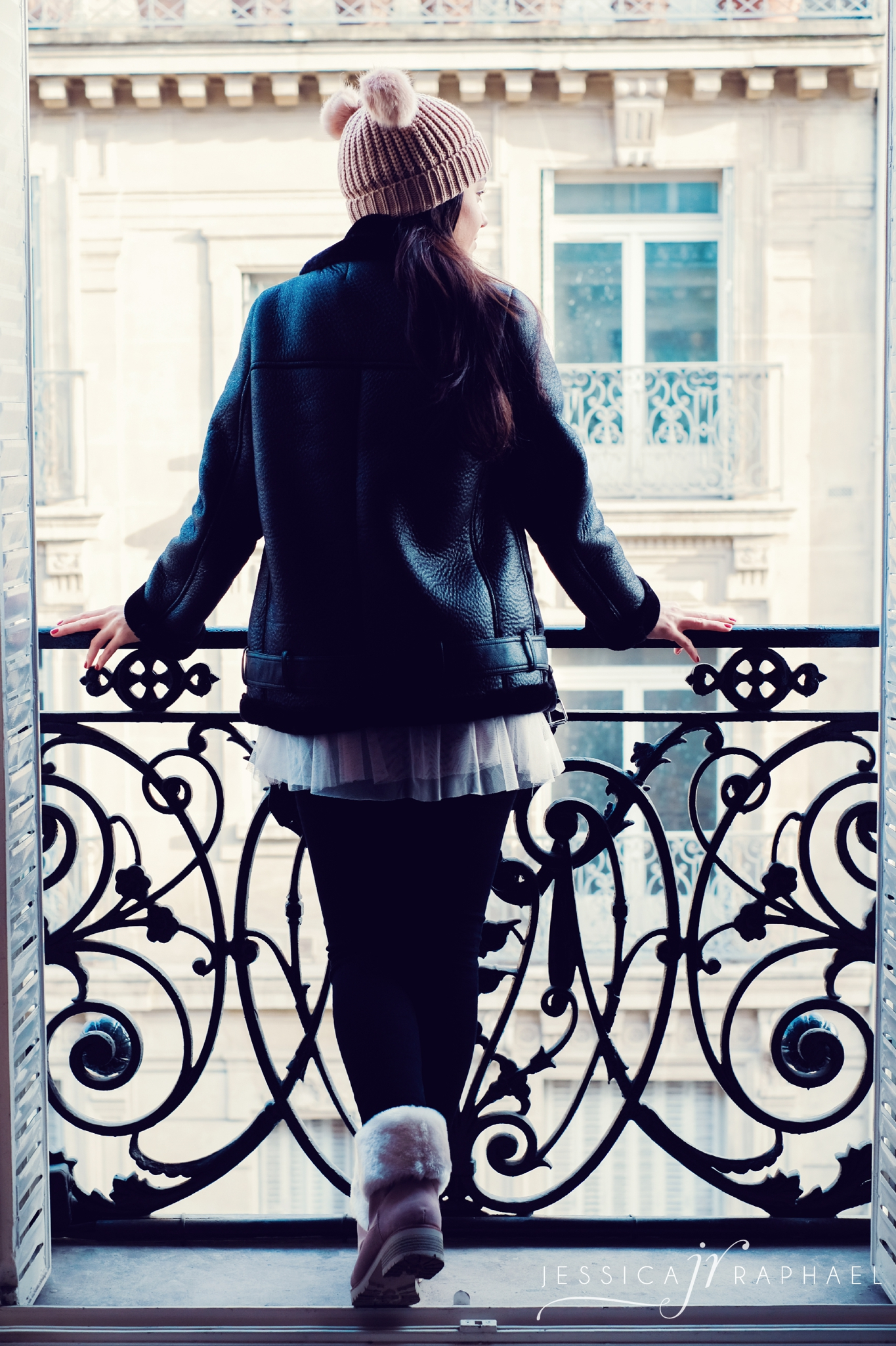 Our Parisian balcony. I am not wearing the ring as it needed to be re-sized, (in case you noticed).