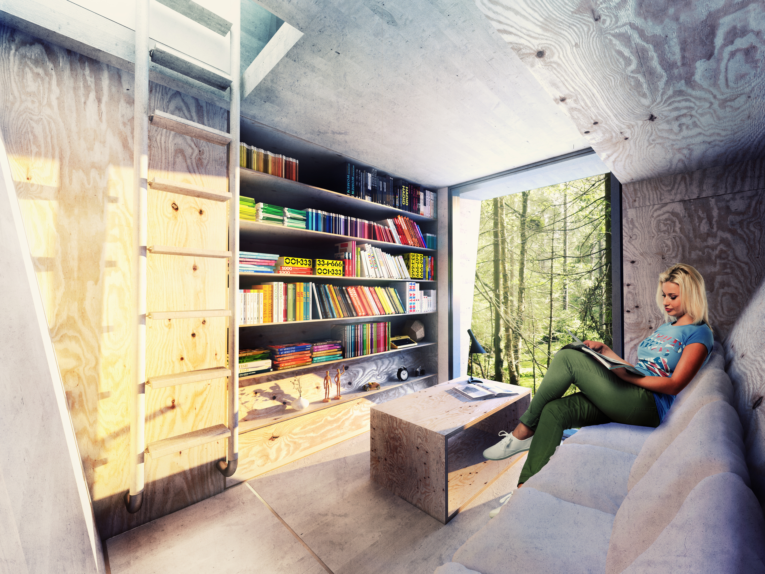 ArchTriumph Treehouse - Library Interior Shot