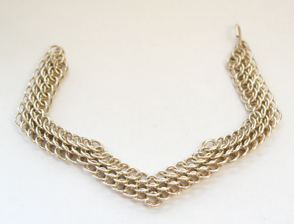 Sterling silver dragon scale chainmail bracelet.
