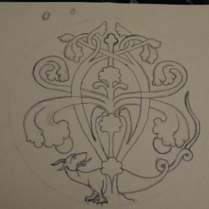 The sketch for the finished embroidery.