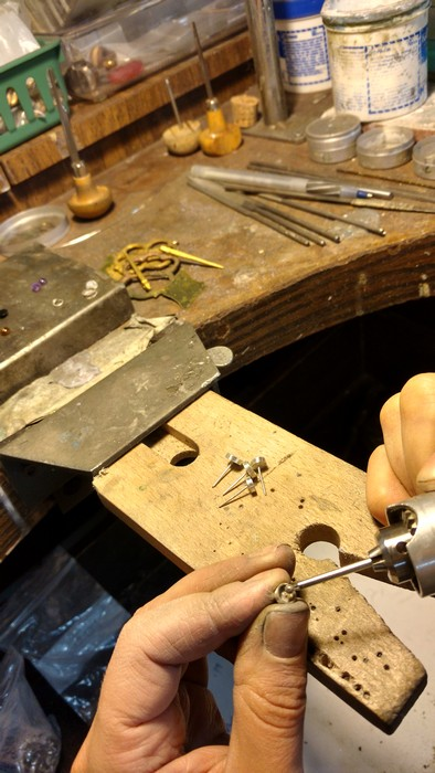 Using a diamond burr to clean out the inside.