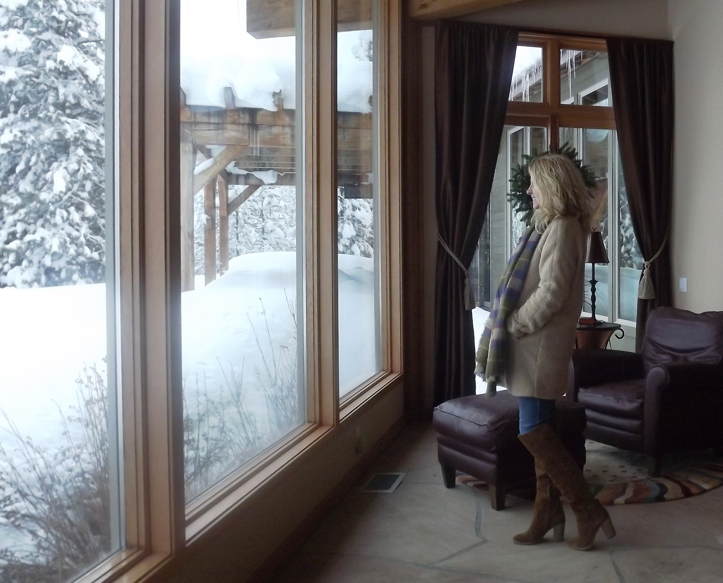 Of course I wouldn't risk damaging my boots in the snow you see out this window. But I can enjoy them around the house, right?