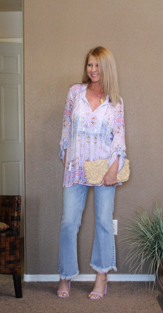 But what do you wear with floral top? - Of course, my petal hem jeans, lavender heels and a straw clutch. For jewelry I wore my butterscotch amber necklace for a little contrast.