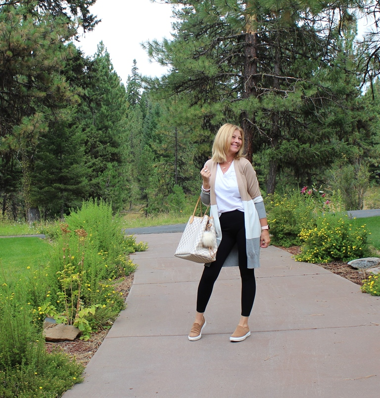 Look 5 - For this look I wore a different white tee with a v-neck, a fun striped cardigan and a pair of camel colored slip on sneakers. Again grabbed my LV tote.