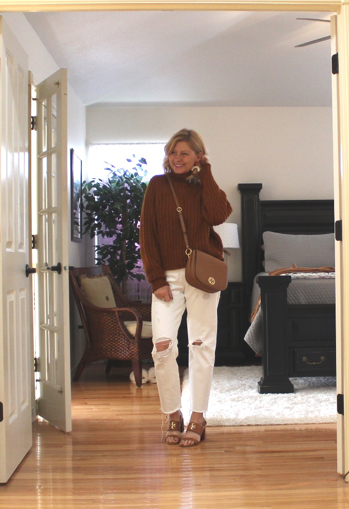 Look 1 - I am wearing white jeans more now than I did all summer. There is something about white with fall colors that attracts me. Here I am wearing a cozy sweater in a deep cognac. To help with the transition from summer to fall I wore my Tory Burch sandals and carried my Tory Burch saddle bag. I will show you the earrings I am wearing further down but they are so perfect for fall and I wear them all the time.