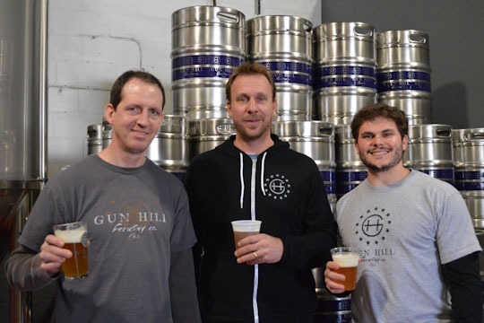 Managing partners - Dave Lopez (right), Kieran Farrell (center), and Head Brewer Chris Sheehan (left)  at Gun Hill Brewing Co. They opened on March 22nd, 2014.
