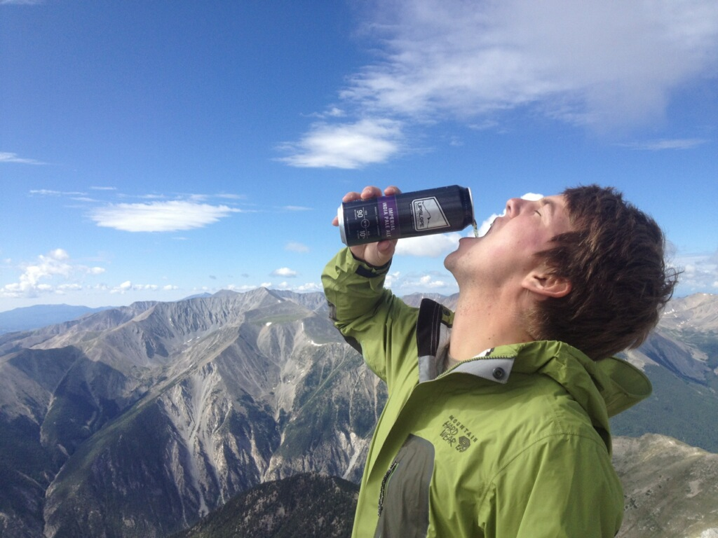 Crushing an Upslope Imperial IPA at the top of Mt. Princeton