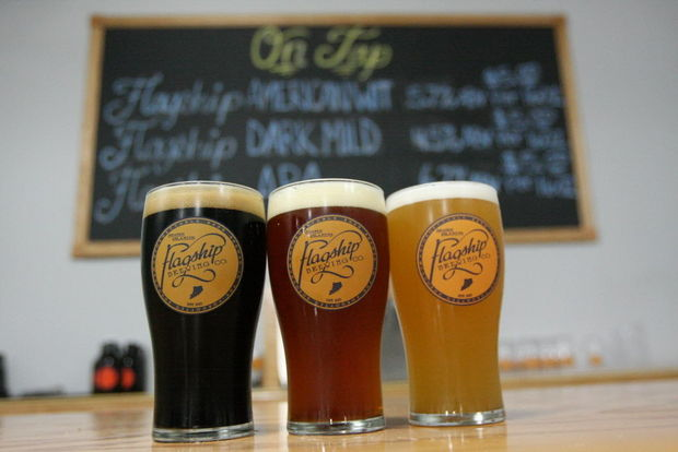 The Flagship Dark Mild, American Pale, and American Wit.