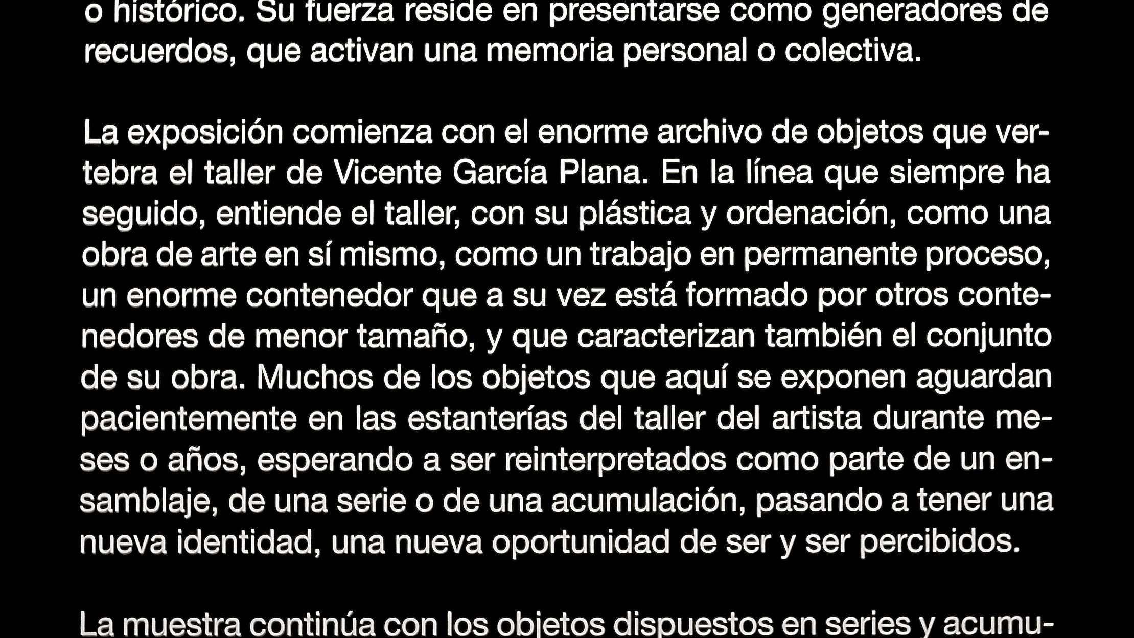 El objeto de la memoria Vicente García Plana  texto