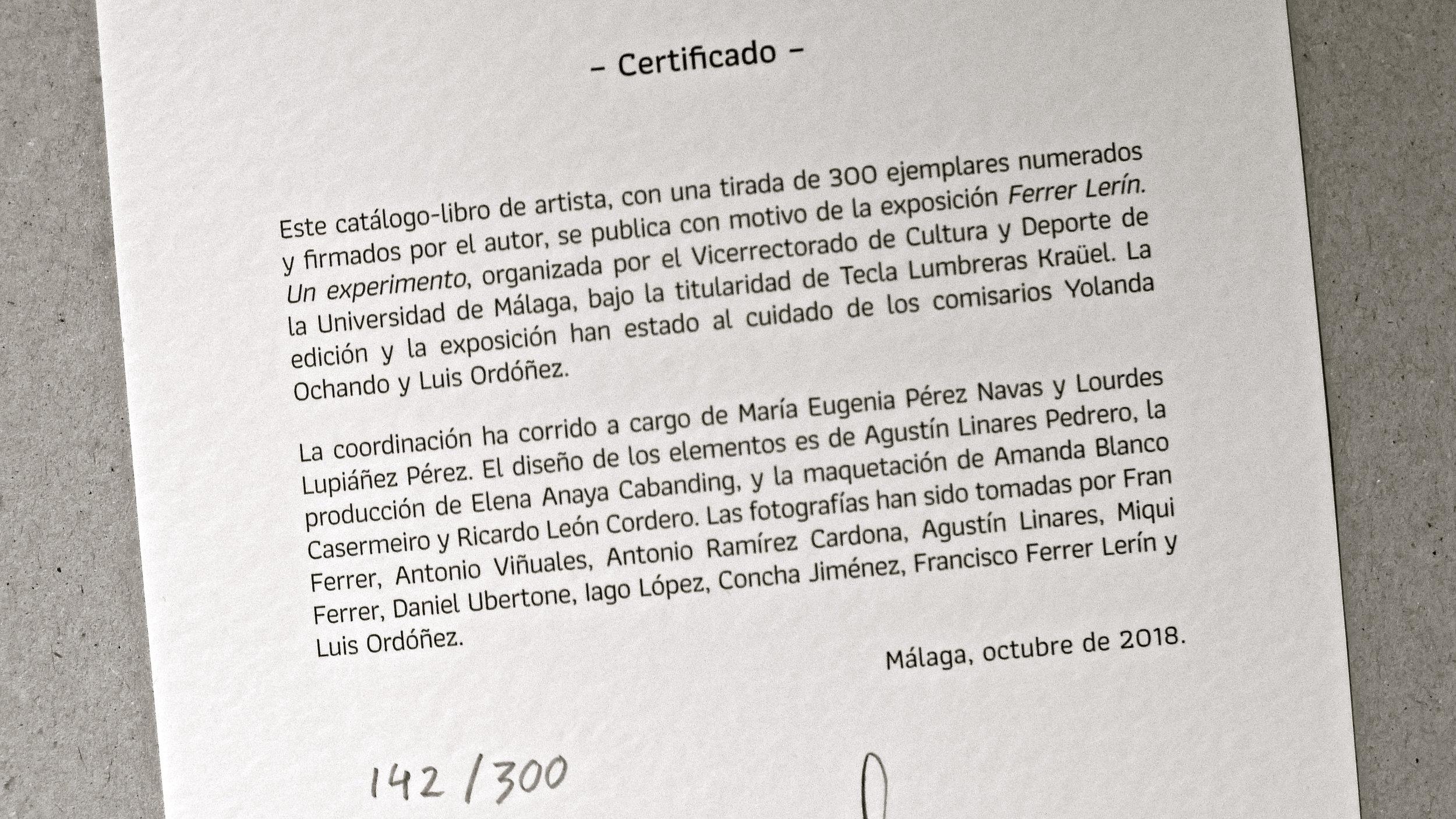 """Ferrer Lerín. """"Un experimento"""" - 30"""
