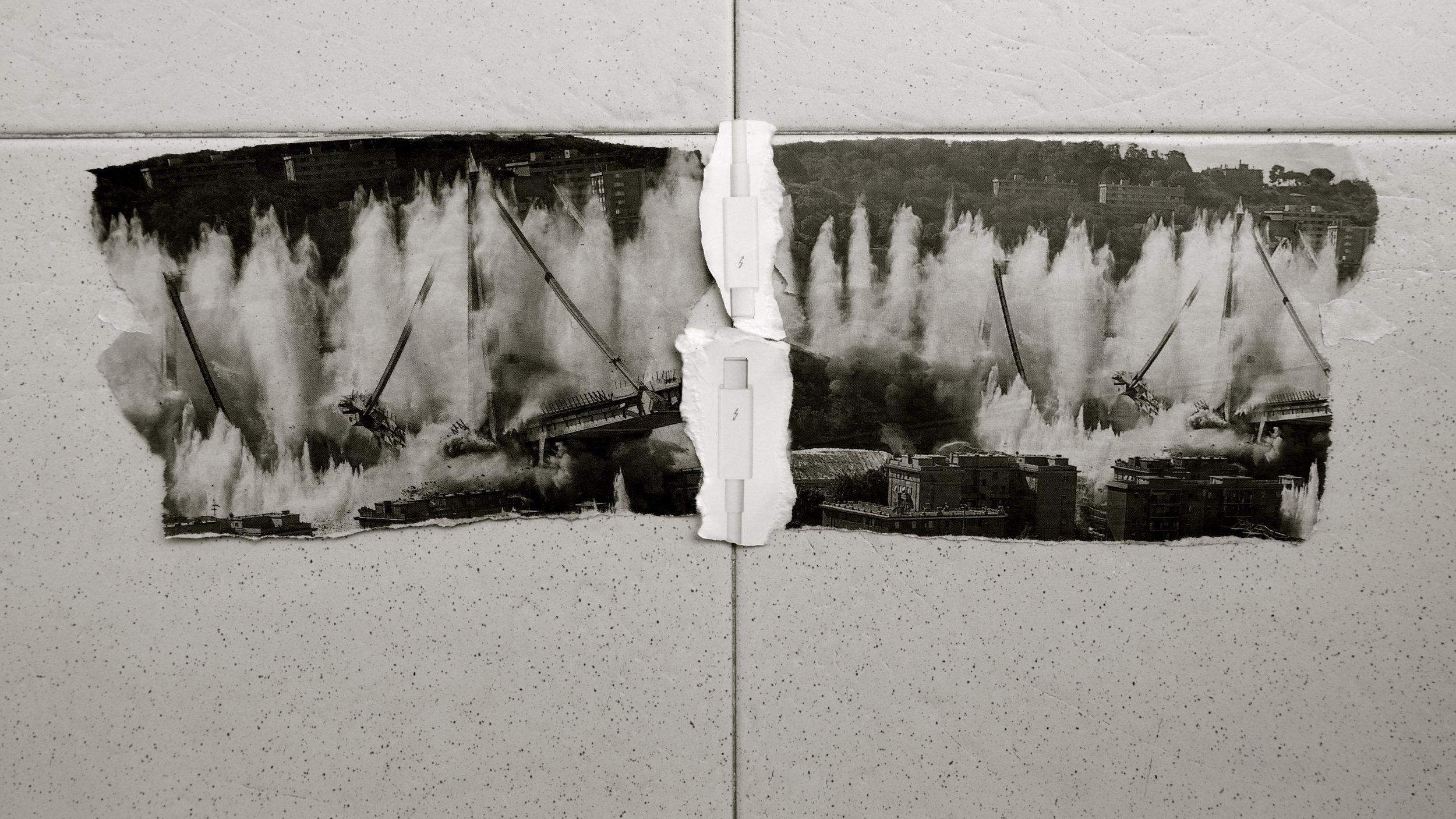 Cryp. De la serie: Páginas encontradas.  Cryp. De la serie: Páginas encontradas.  Puente Morandi Génova