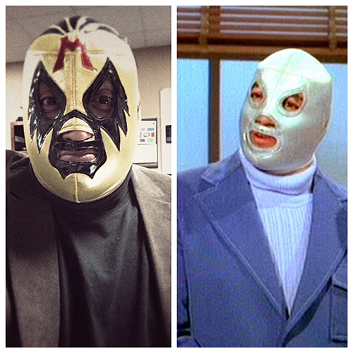 Not pictured in this shot - Blue Demon, my favorite Luchador.  El Santo was ok... but I ride and die with Blue.  Mil Mascaras was a mask I never owned, but wanted to have in my home in the event an opportunity arose to wear it.