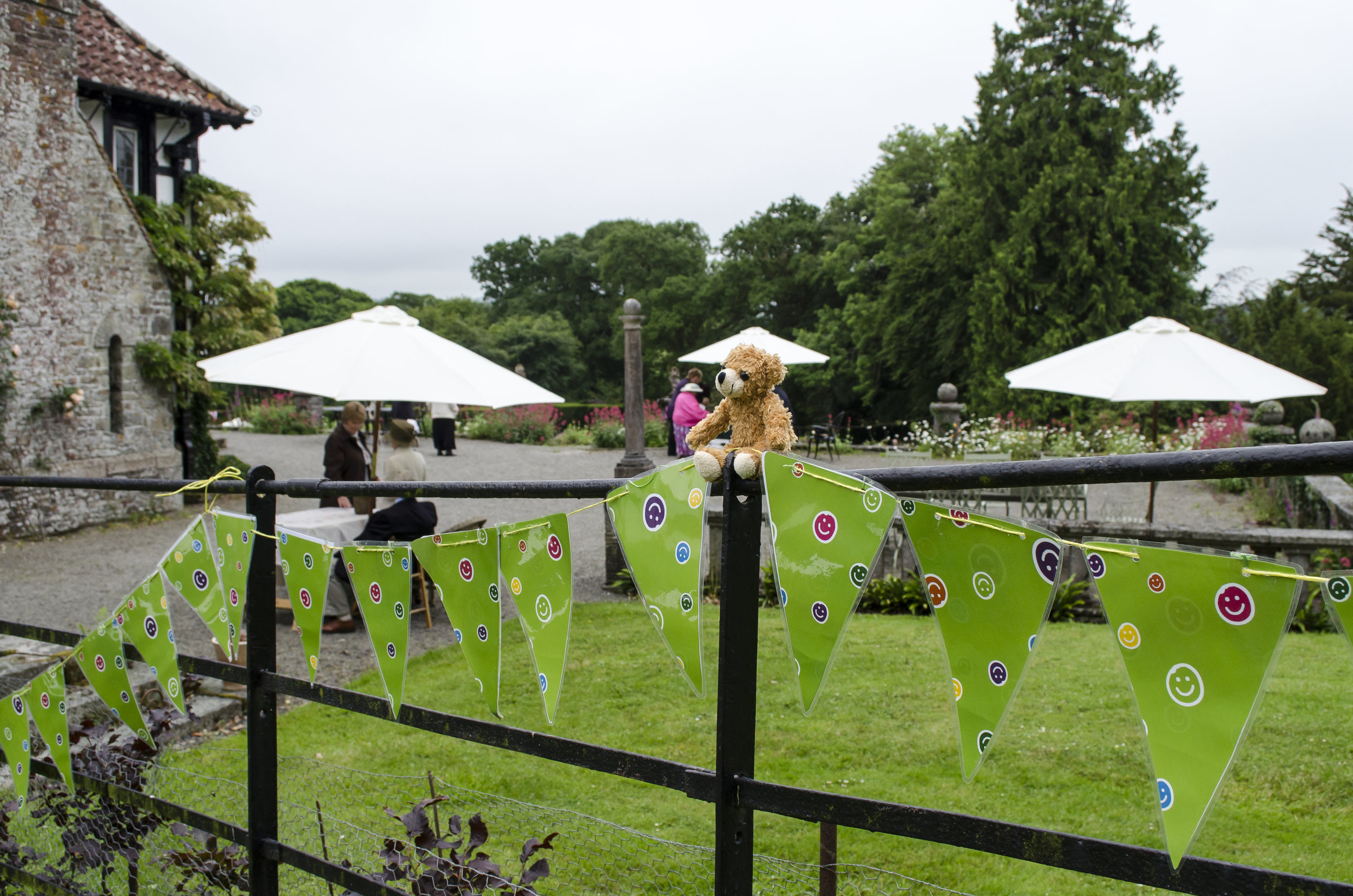 Childrens Hospice South West colourful bunting at Coombe Trenchard.