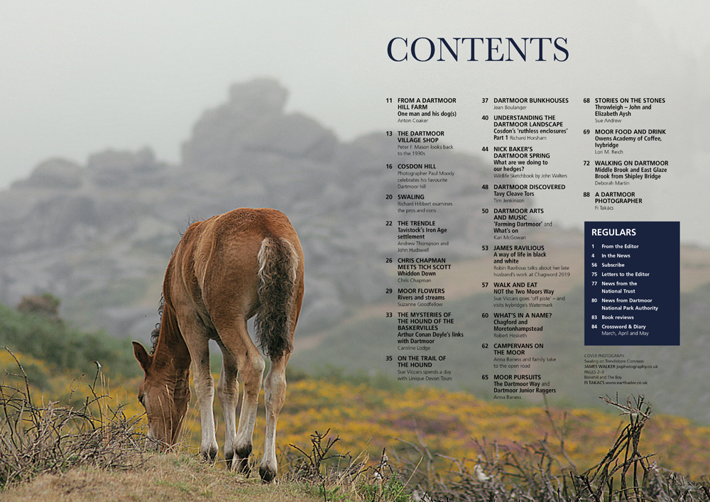 The contents page - Dartmoor Magazine - March/April 2019