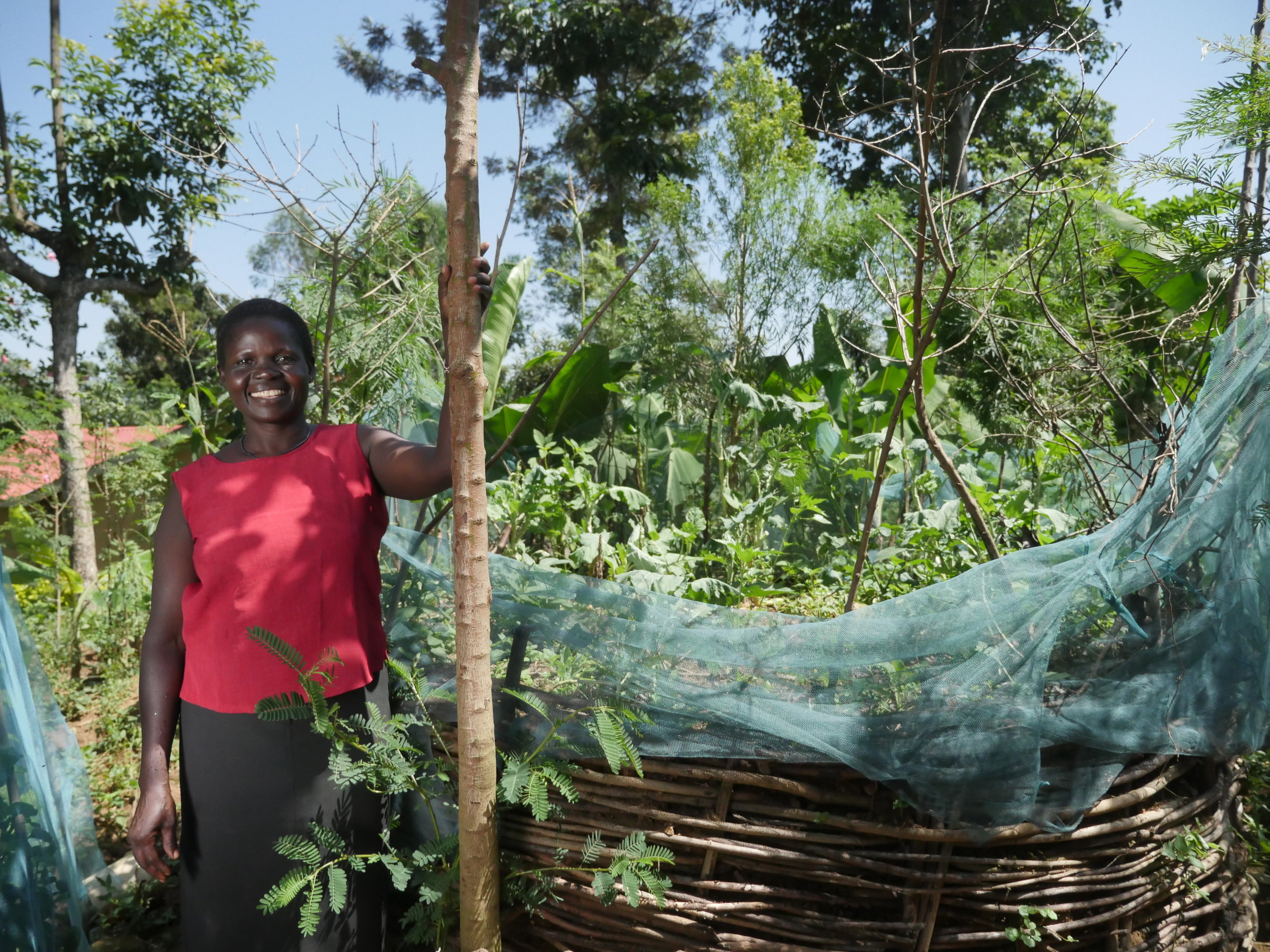 Pictured: Prisca with her water saving bag gardens in Kenya. Image credit: Send a Cow.