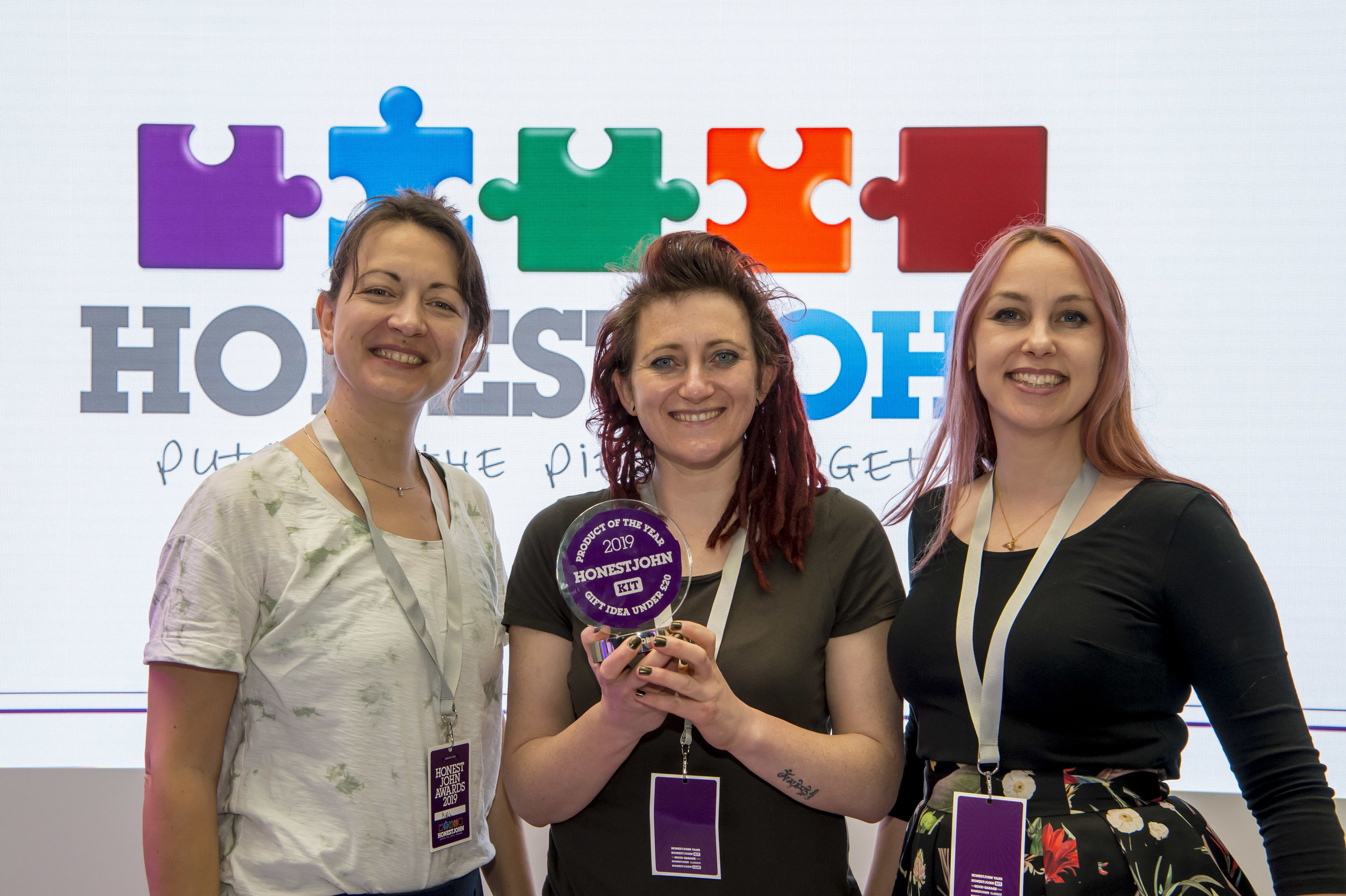 Pictured: Mika (left) Seed Ball Production Team Manager, Emma (centre) Seed Ball Co Founder & Ana, (right) Seed Ball Co Founder at an award ceremony in April 2019 where they won The Honest John's best gift idea under £20.