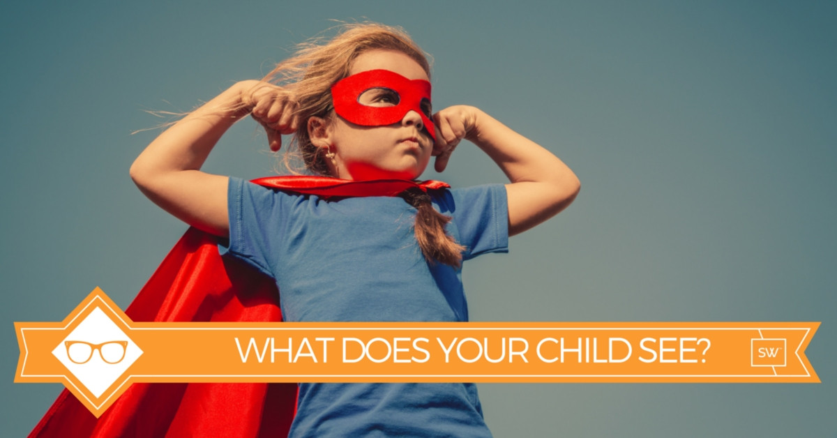 """Photo of child in super hero outfit with caption that says """"what does your child see?"""""""