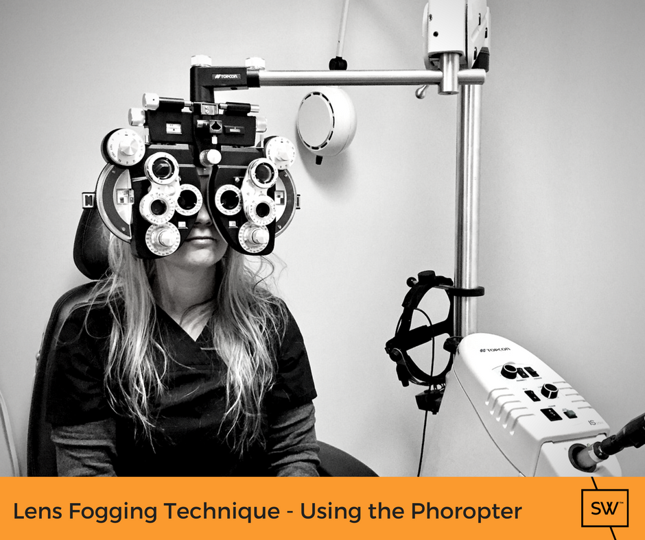 Stonewire staff member demonstrating the lens fogging technique in the phoropter