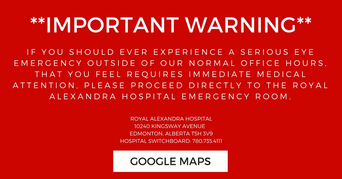 Important warning - go to Royal Alexandra hospital if you have an eye emergency after hours