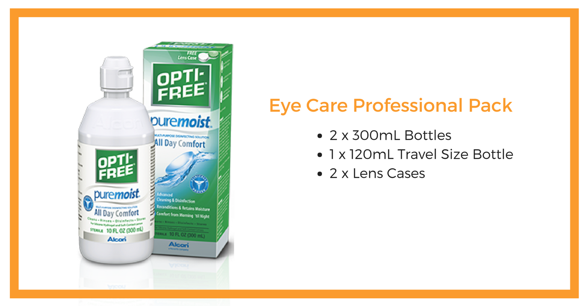 Opti-Free Puremoist with Hydragylde  - Multipurpose Disinfecting solution - fOR SOFT CONTACT LENSES - pOLYQUAD AND ALDOX ENHANCED DISINFECTION FORMULA    Cost: $25.00 per professional Pack +GST