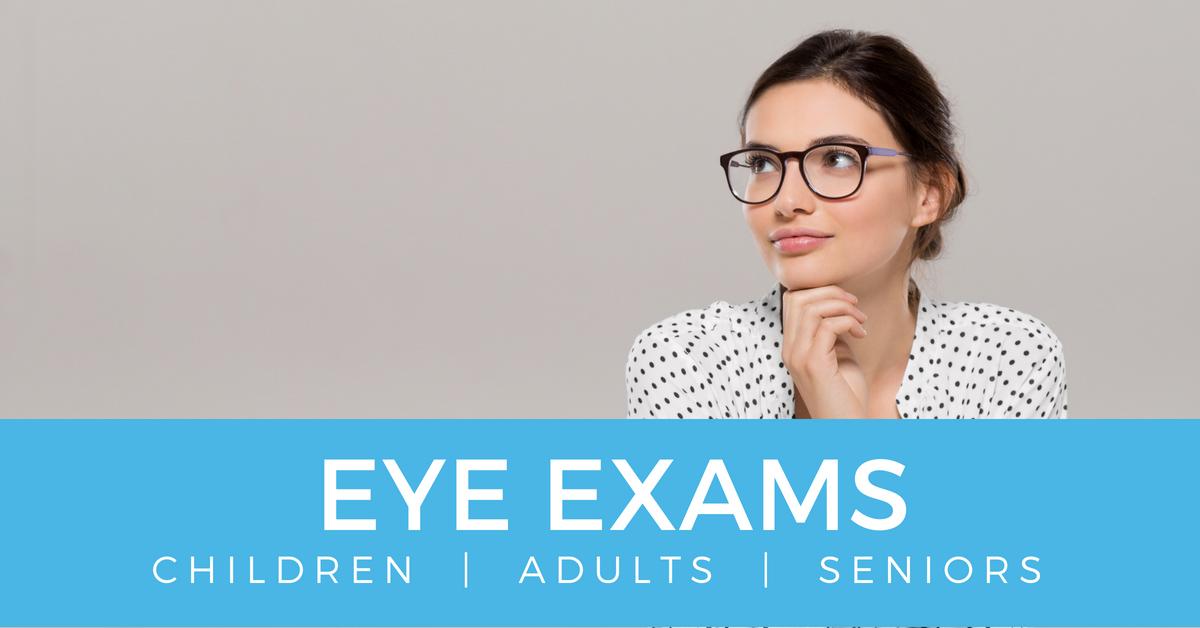 children adults seniors eye exams in edmonton, happy women smiling wearing black eyeglasses