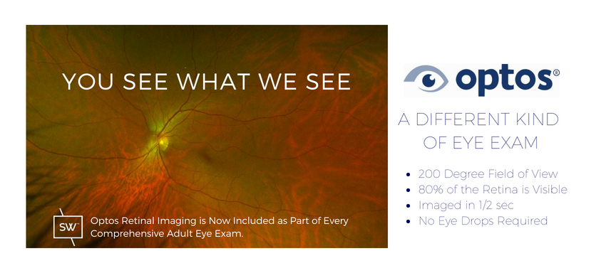 oPTOS RETINAL IMAGING IS NOW INCLUDED AS PART OF EVERY COMPREHENSIVE EYE EXAM. iT CAPTURES A 200 DEGREE FIELD OF VIEW OR 80% OF THE RETINA IN JUST 1/2 SECOND WITHOUT THE NEED FOR DILATING EYE DROPS.