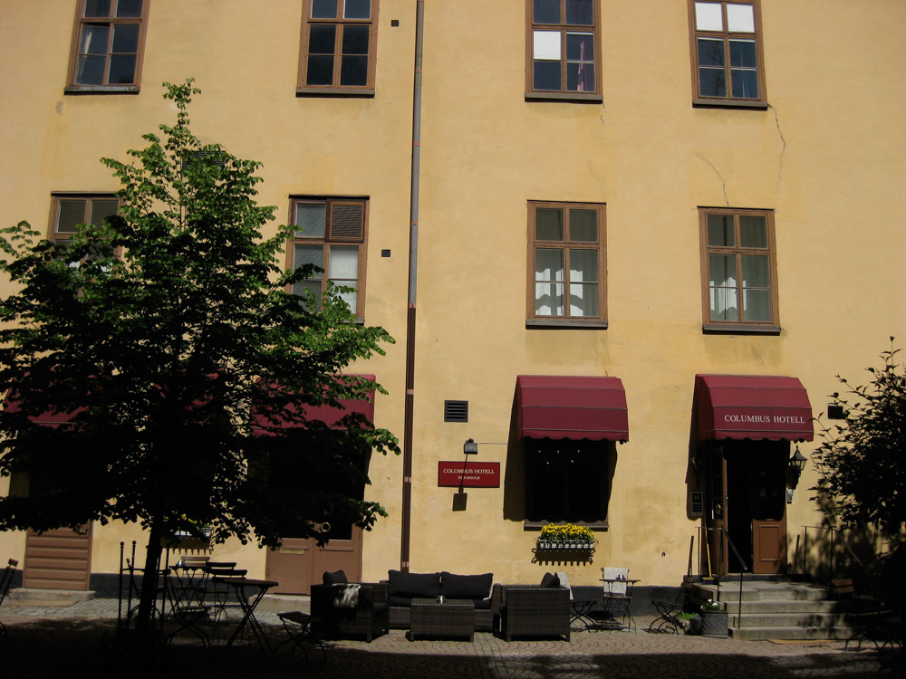 The courtyard of the Columbus Hotell in Stockholm.