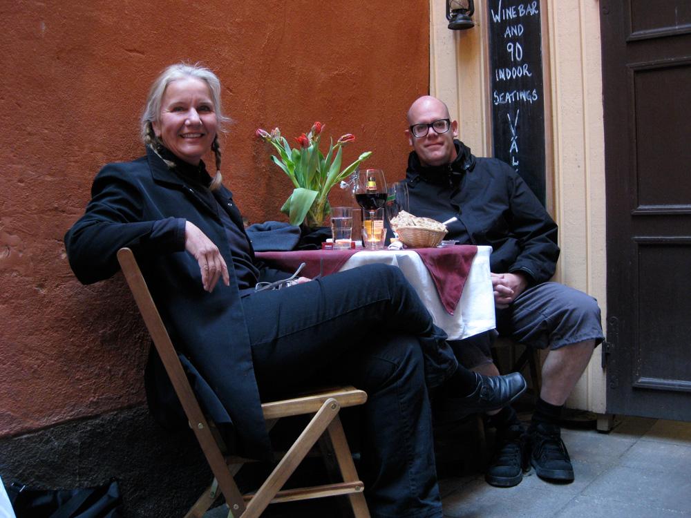 Monika and I at Von Der Lindeska Valvet restaurant, Gamla Stan, Stockholm.
