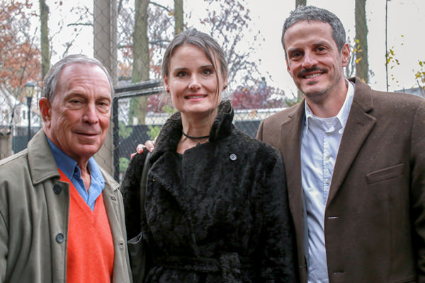 (Left to Right) Mayor Michael Bloomberg, Hayes Slade, and James Slade after the Mayor cut the ribbon.