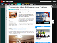 "USA Today  ""Virgin Atlantic Debuts Clubhouse at Newark's Liberty"" December 24, 2012"