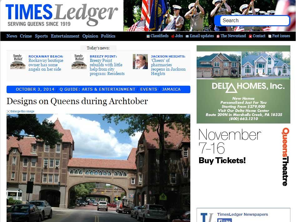 "Times Ledger  ""Design on Queens During Archtober"" October 03, 2014"