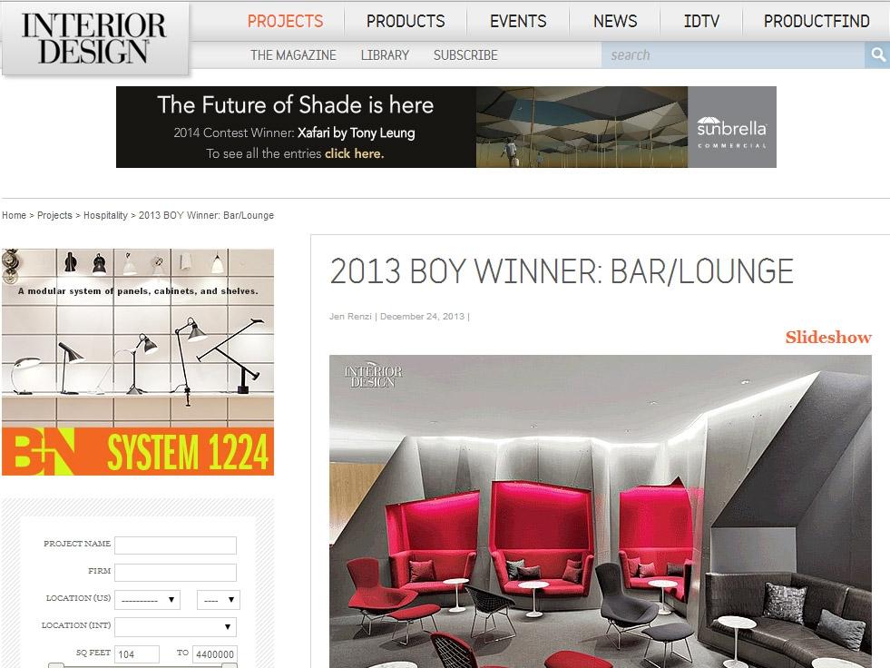 """Interior Design Magazine  """"2013 BOY Winner: Bar/Lounge"""" December 24, 2012"""