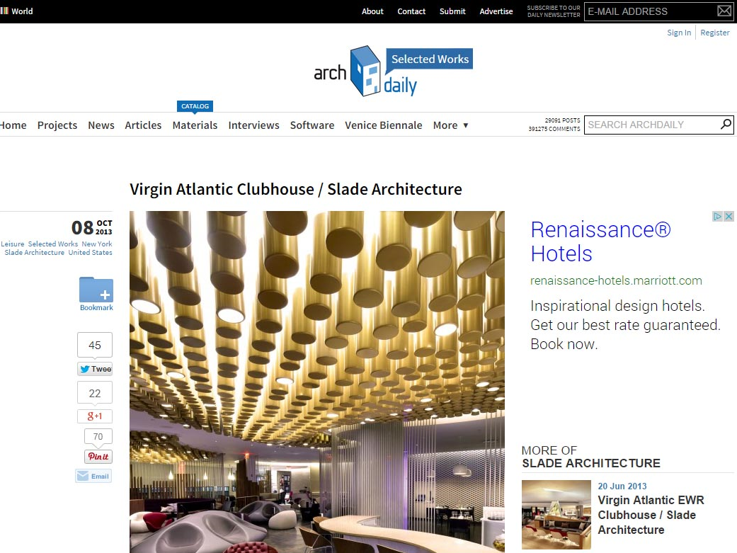 "Archdaily  ""Virgin Atlantic Clubhouse Slade Architecture"" October 08, 2013"