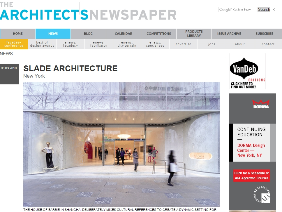 "The Architect's Newspaper  ""Slade Architecture"" March 03, 2010"