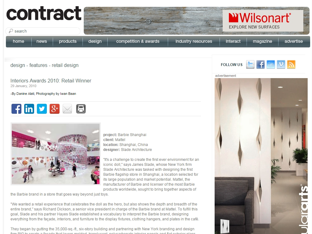 "Contract  ""Interiors Award 2010: Retail Winner"" January 29, 2010"