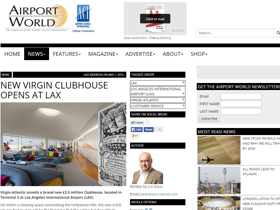"Airport World  ""New Virgin Clubhouse Opens at LAX"" April 30, 2015"