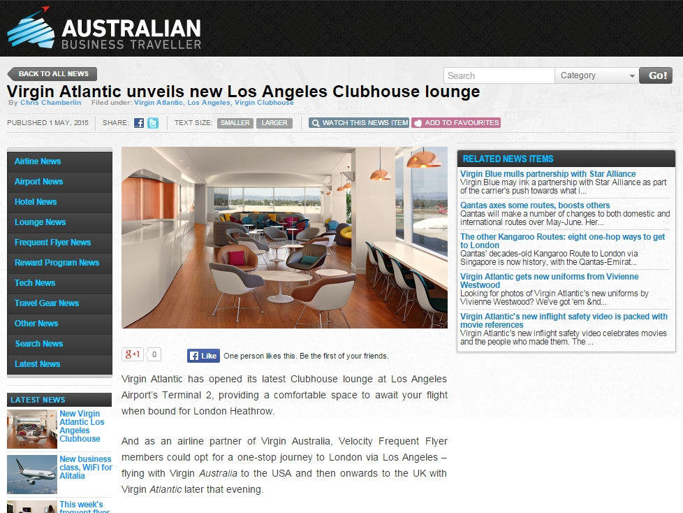 "Australian Business Traveller  ""Virgin Atlantic unveils new Los Angeles Clubhouse lounge"" May 01, 2015"