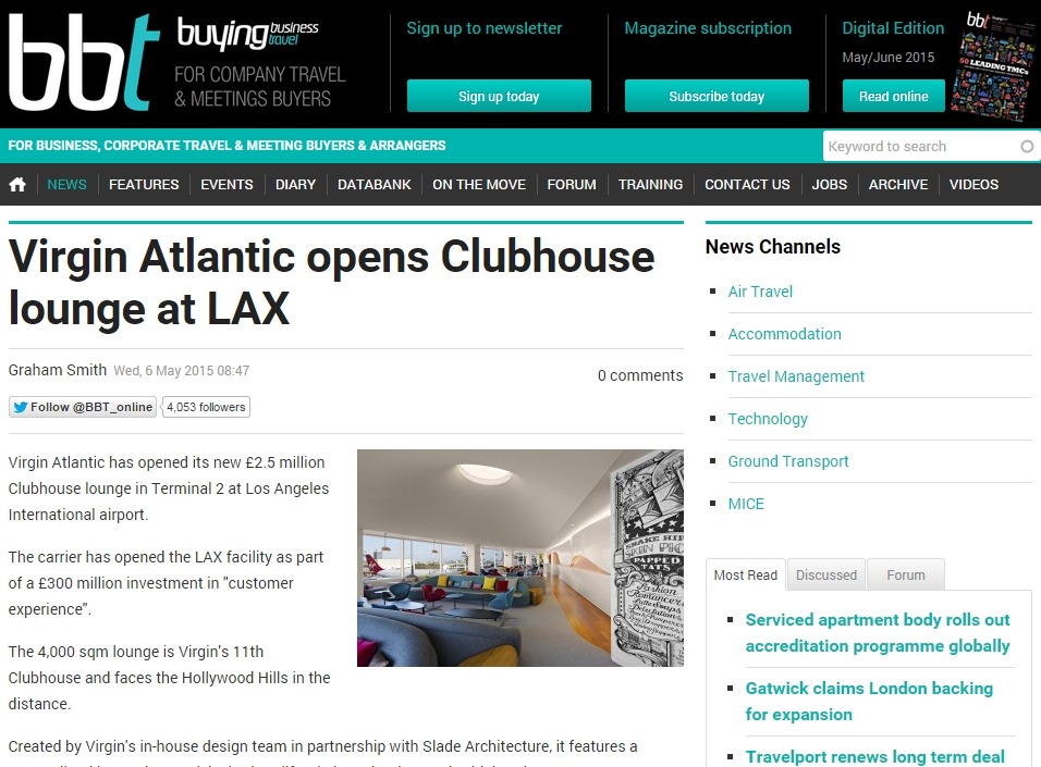 "Buying Business Travel  ""Virgin Atlantic opens Clubhouse lounge at LAX"" May 06, 2015"
