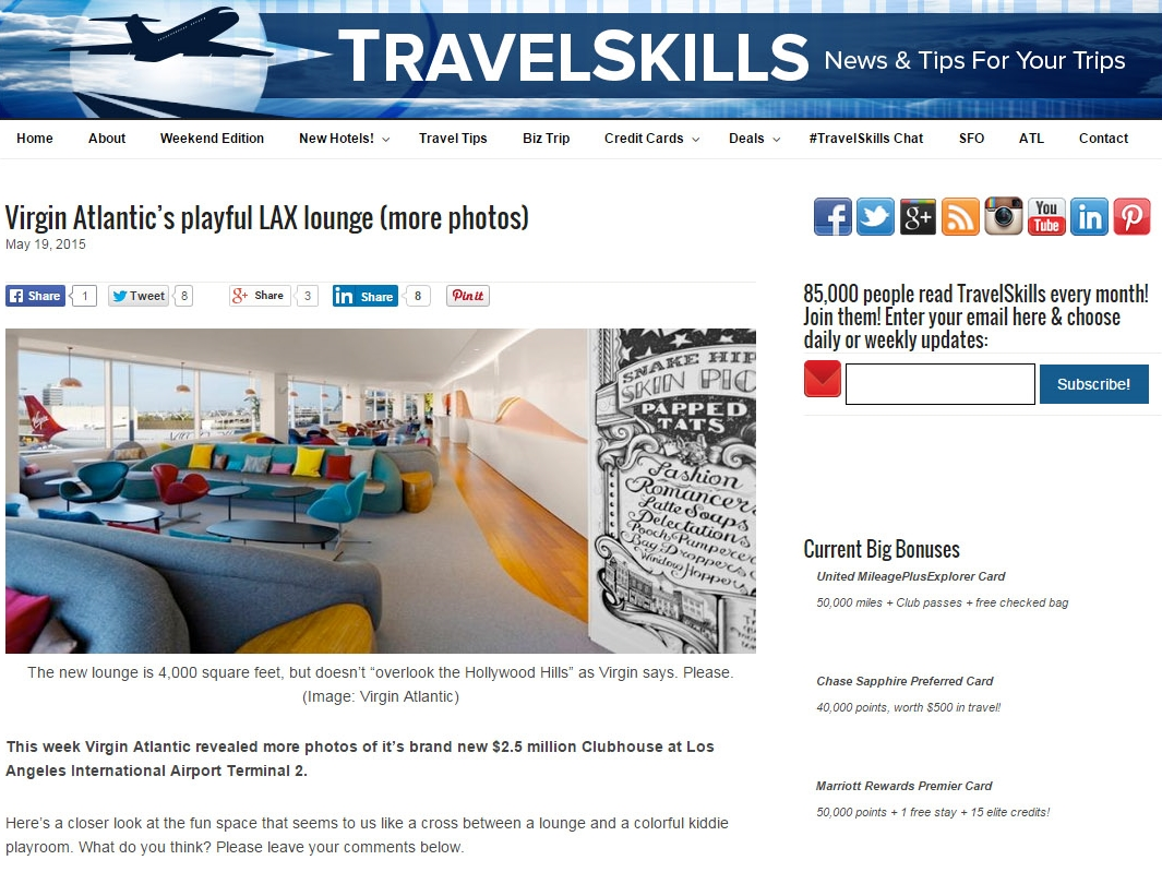 "Travel Skills  ""Virgin Atlantic's Playful LAX Lounge"" May 19, 2015"