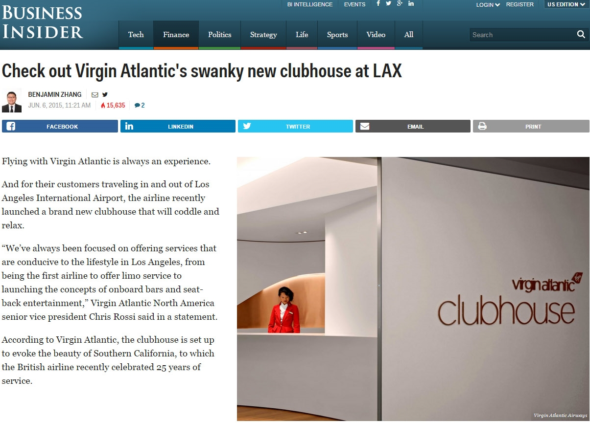 "Business Insider  ""Check out Virgin Atlantic's swanky new clubhouse at LAX"" June 06, 2015"