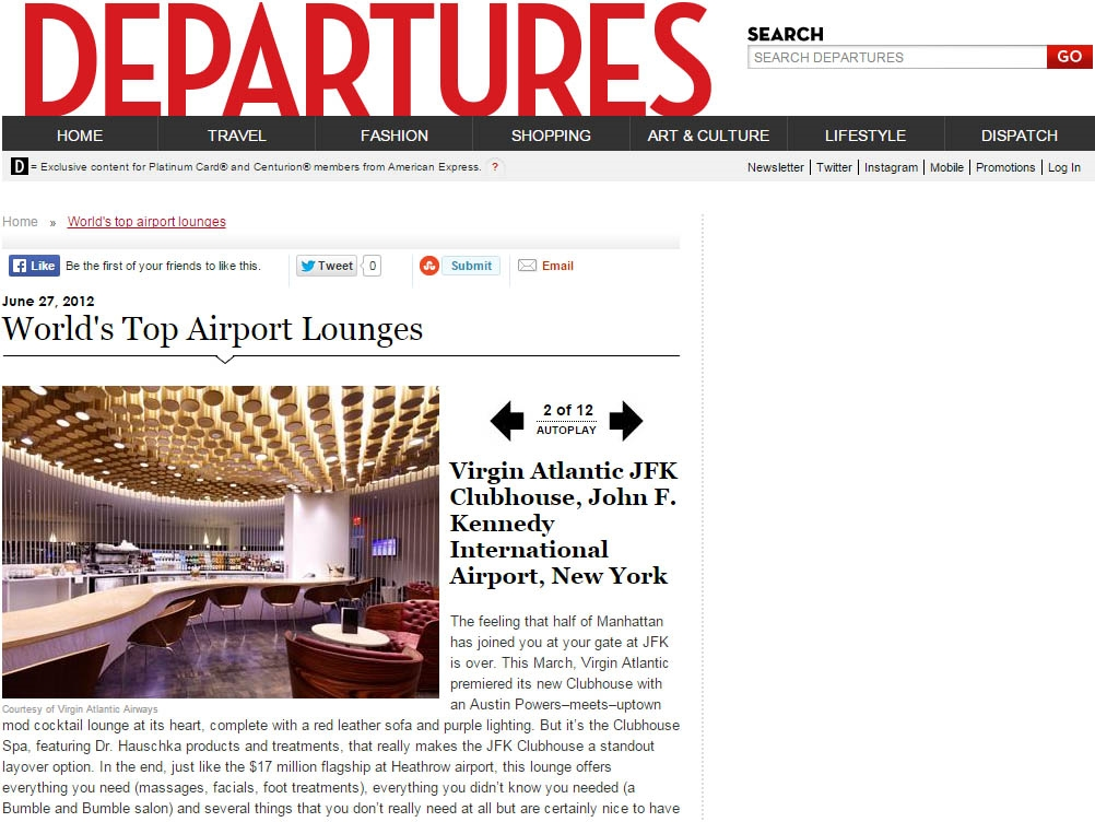"Departures  ""World's Top Airport Lounges"" July/August, 2012"