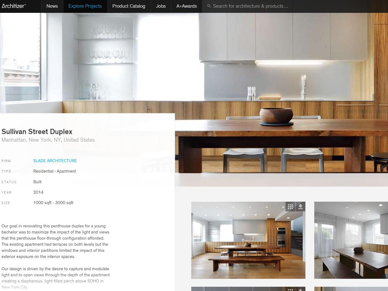 """Architizer  """"Sullivan Street Duplex"""" June 16, 2015"""